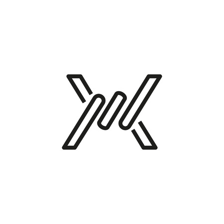 Barbed wire fence sign line icon