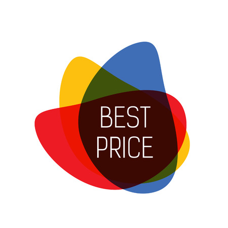 Best price lettering. Bright inscription with colorful drops. Handwritten text, calligraphy. Can be used for greeting cards, posters and leaflets Vettoriali