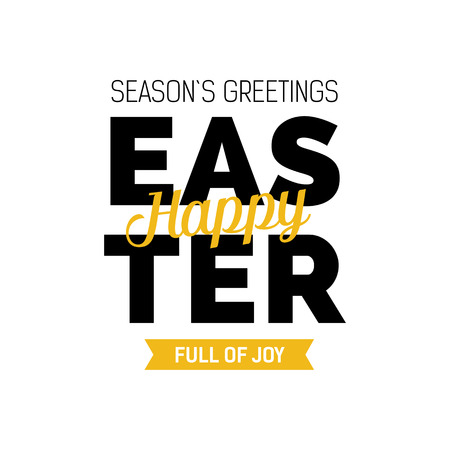 Seasons greetings happy easter full of joy lettering modern seasons greetings happy easter full of joy lettering modern inscription with different fonts and yellow m4hsunfo