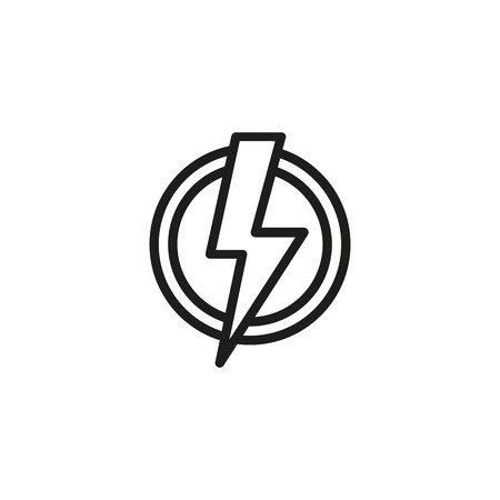 High voltage symbol in circle line icon