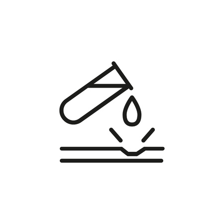 Line icon of tube with acid damaging material. Toxic, poison, warning acid sign. Warning signs concept. Can be used for topics like chemistry, science, safety
