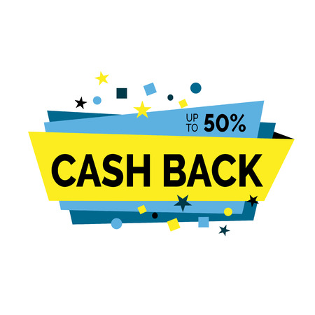 Cash back lettering with small figures