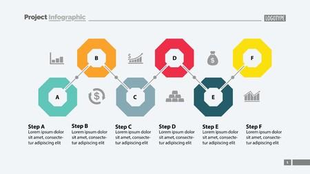 Six steps flowchart template design Vectores