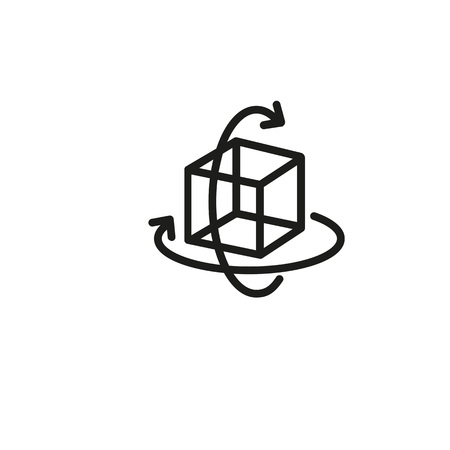 Virtual three-dimensional cube icon