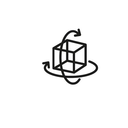 Virtual three-dimensional cube icon