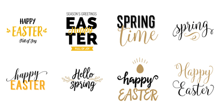 Happy Easter and Spring lettering set
