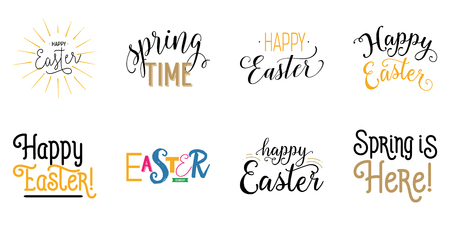 Happy Easter simple lettering set