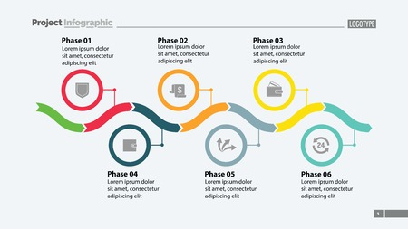 Six phase process chart slide template design