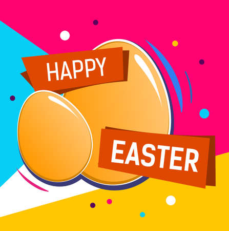 Bright Happy Easter Lettering Illustration