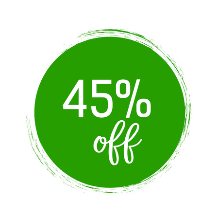 Forty Five Percent Lettering in green Circle