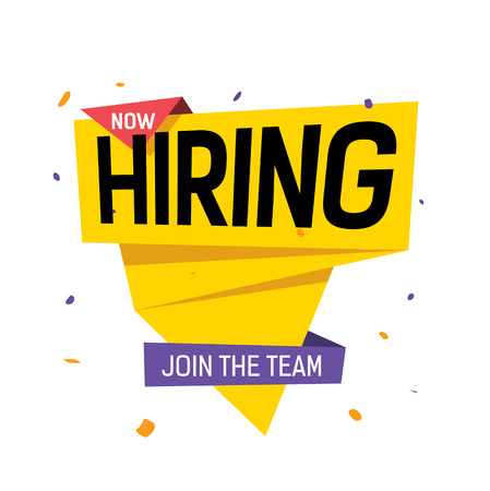 Hiring Now, Join the Team Lettering in multicolored