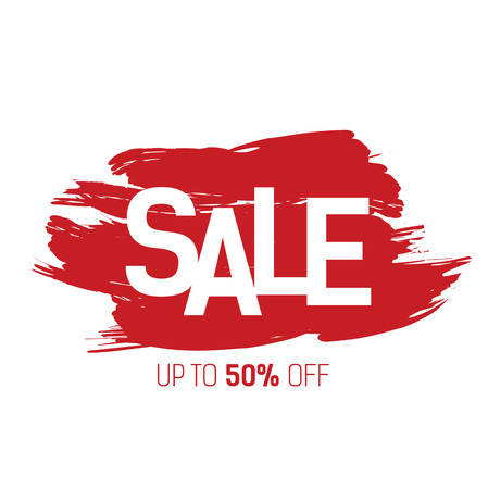 Sale Lettering on Red Brushed Strokes