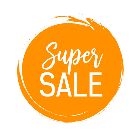 Super Sale Lettering in Orange Circle Illustration