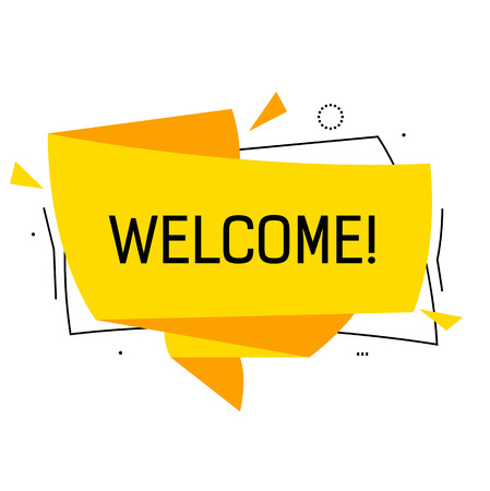 Welcome Lettering on Yellow Origami Ribbon