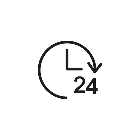 Twenty four hour service sign icon Vectores