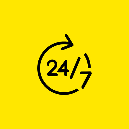 All-day shop sign line icon
