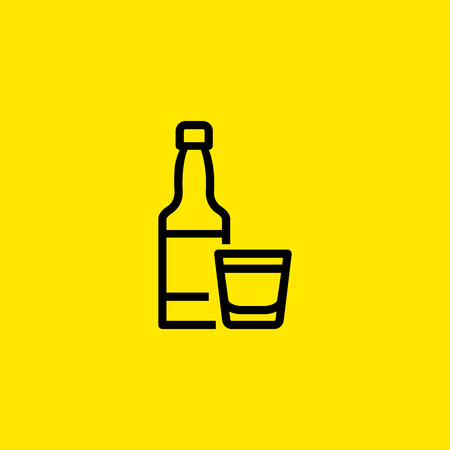 Alcoholic Beverage Line Icon 矢量图像