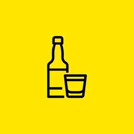Alcoholic Beverage Line Icon Illustration