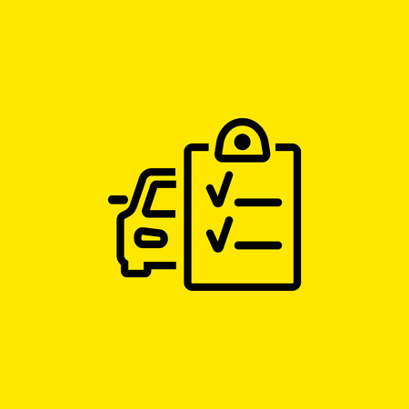 Car and checklist line icon