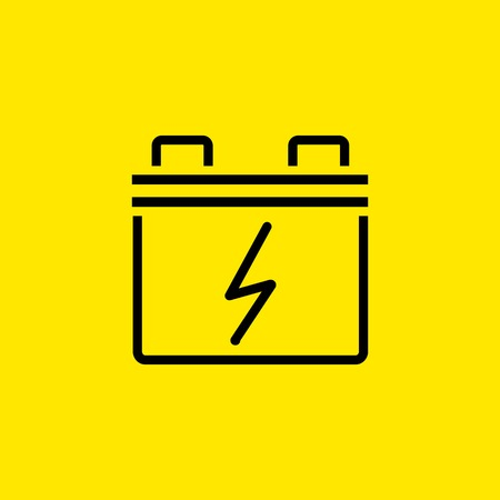 Car battery line icon