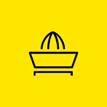 Citrus juicer icon illustration on yellow background. Illustration