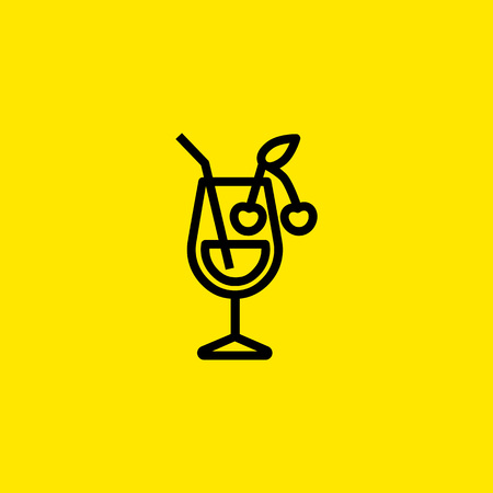 Cocktail with Cherry Line Icon illustration on yellow background.