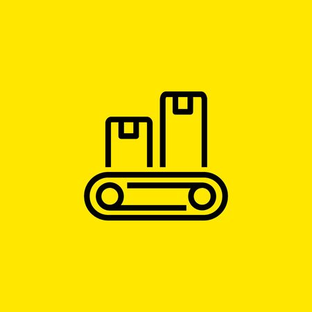 Conveyor belt icon illustration on yellow background.