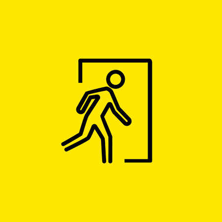 Emergency exit icon illustration on yellow background.