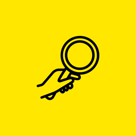 Human hand holding magnifying glass icon