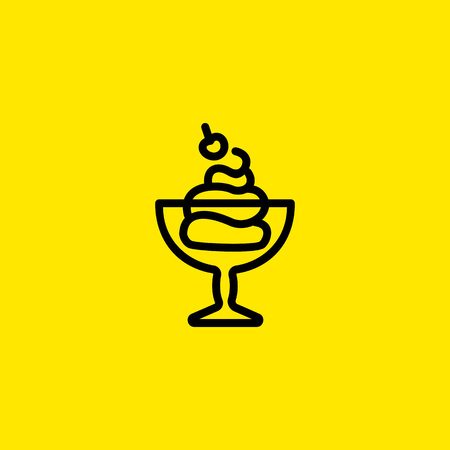 Ice Cream in Bowl Line Icon