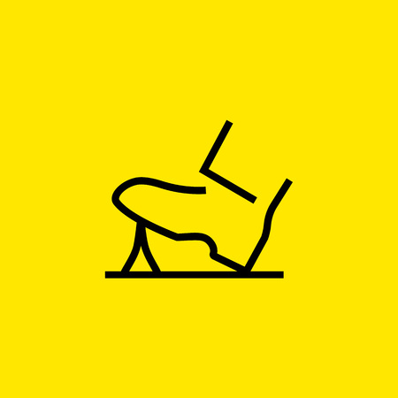 Icon of shoe stepping. Chewing gum, sticking, dirt. Stroll concept. Can be used for topics like street, walk, embarrassment