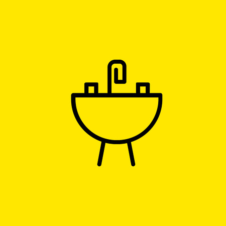 Sink with faucet line icon