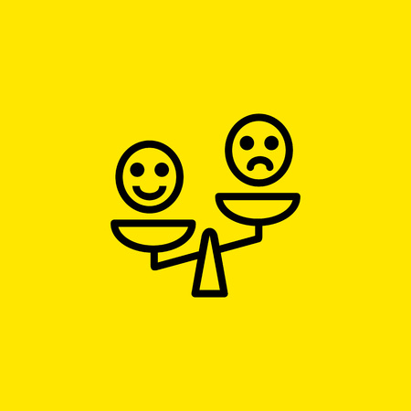 Icon of Smiley Emoticons on Scales. Positive, negative, emotion. Happiness versus sadness concept. Can be used for topics like pros and cons, opinion, comparison.