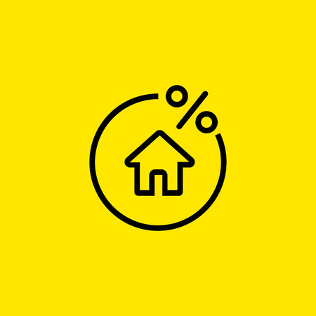Rate for mortgage icon Illustration
