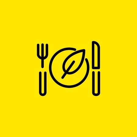 Vegan Food Line Icon 일러스트