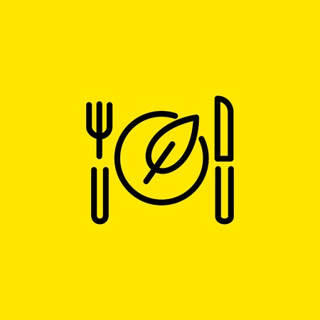 Vegan Food Line Icon Illustration