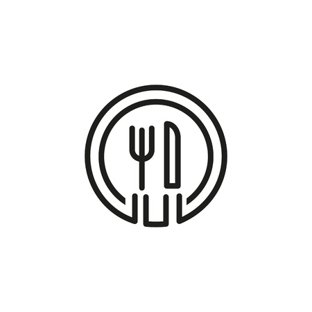 Plate and cutlery icon Stock Illustratie