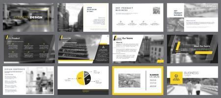 Building Charts Slide Templates Set Vectores