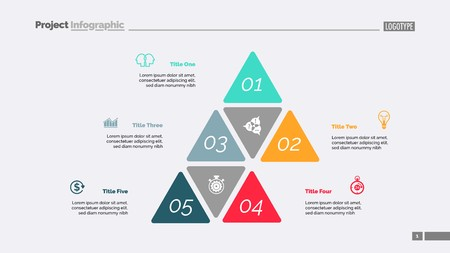 Five options process chart slide template. Business data. Step, financial, design. Creative concept for infographic, presentation, report. Can be used for topics like marketing, finance, research. Illustration