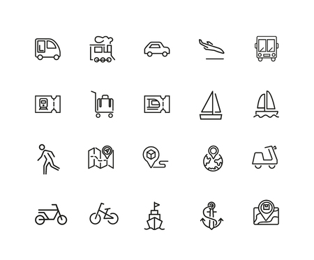 Travel icon set isolated on plain background. Vectores