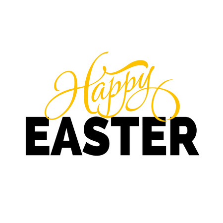 Happy Easter lettering with two fonts yellow and black on white background. Vector illustration.