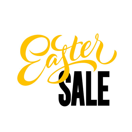 Easter sale lettering  yellow and black on white background. Vector illustration.