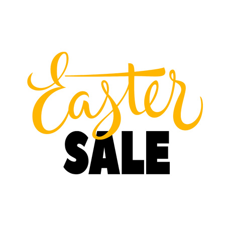 Easter sale lettering yellow and black on white background. Vector illustration. Illustration