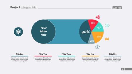 Five Sectors Pie Chart Slide Template Vector illustration. 向量圖像