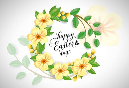 Happy Easter Day lettering in yellow flower wreath. Illustration