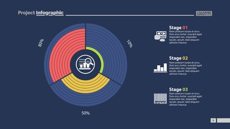 Circle Diagram With Stages Slide Template Vettoriali