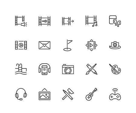 Set of Leisure Line Icons Vector illustration. Illustration