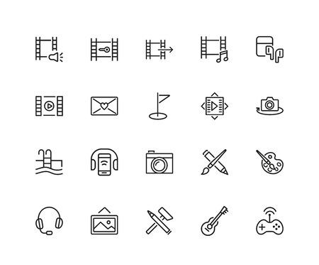 Set of Leisure Line Icons Vector illustration. Illusztráció