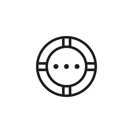 Lifebuoy line icon illustration on white background.