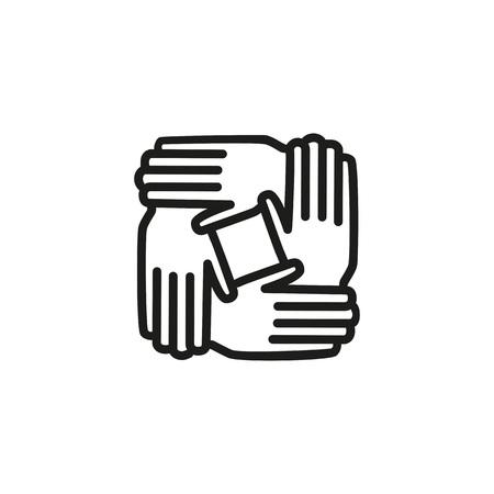 Ilustración de icono de línea de trabajo en equipo sobre fondo blanco. Ilustración de vector
